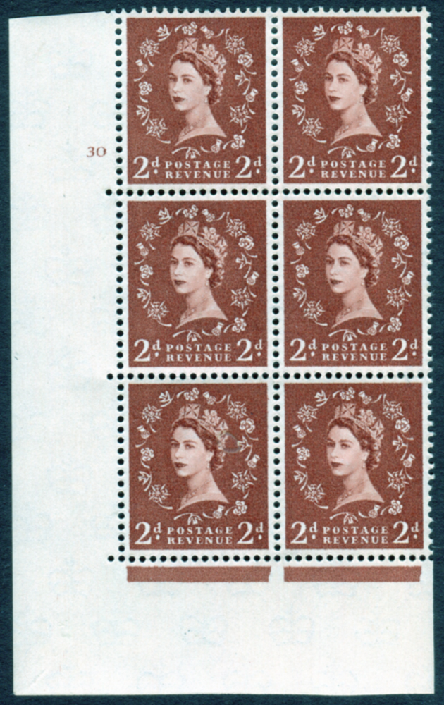 1958 Wilding 2d Crowns, cream paper, Perf Type A, Cyl. 30 - block of six