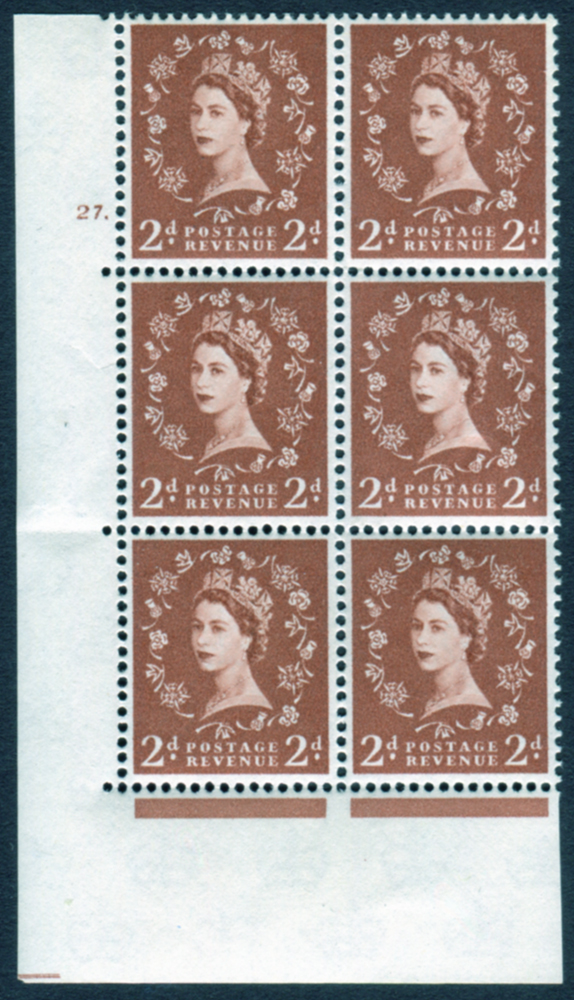 1958 Wilding 2d Crowns, white paper, Perf Type A, Cyl. 27 dot - block of six
