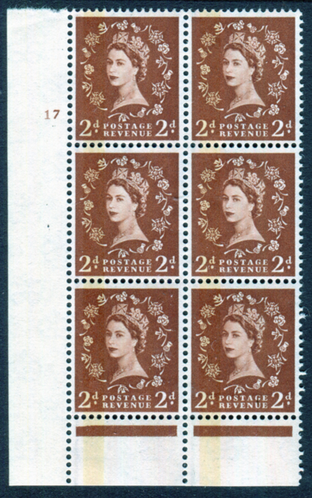 1959 Wilding 2d Crowns, green phosphor GRAPHITE, white paper, Perf Type B, Cyl. 17 - block of six