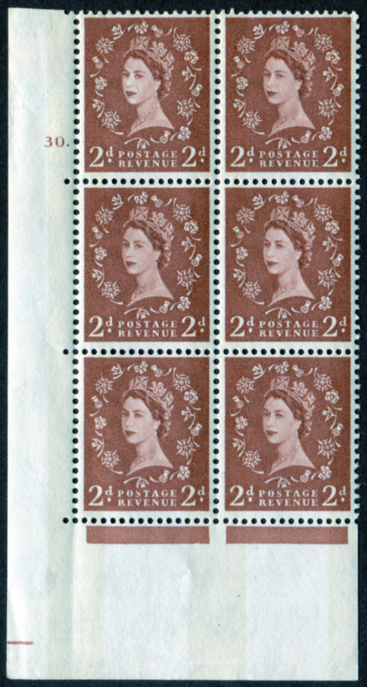 1961 Wilding 2d Crowns, violet phosphor, white paper, Perf Type A, Cyl. 30 dot - block of six