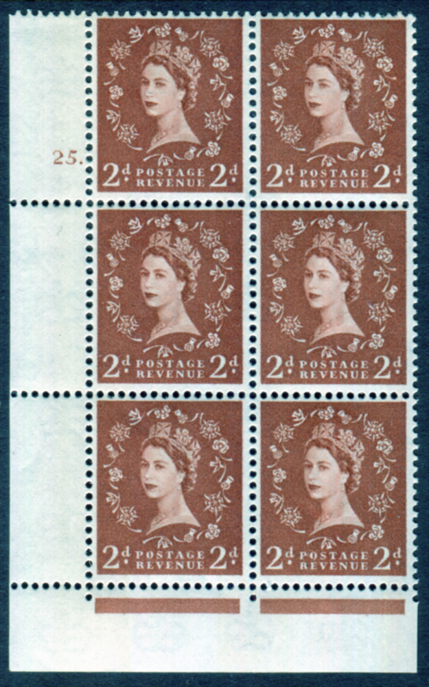 1961 Wilding 2d Crowns, violet phosphor, Perf Type F(L), Cyl. 25 dot - block of six
