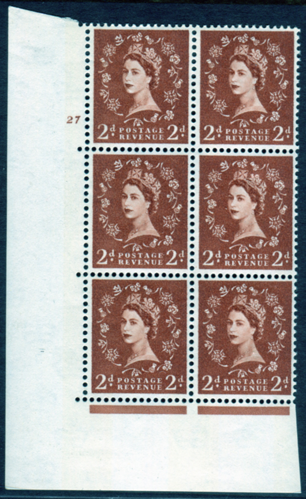 1961 Wilding 2d Crowns, violet phosphor, Perf Type A, Cyl. 27 - block of six