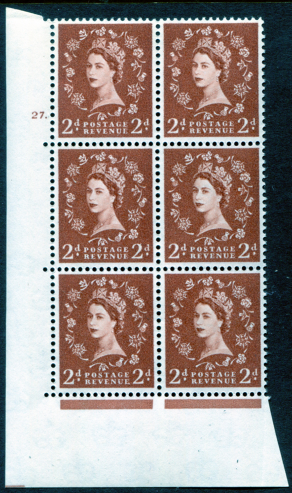 1961 Wilding 2d Crowns, violet phosphor, Perf Type A, Cyl. 27 dot - block of six