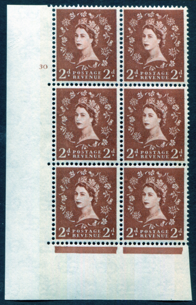 1961 Wilding 2d Crowns, violet phosphor, Perf Type A, Cyl. 30 - block of six