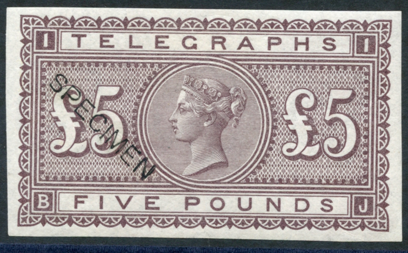1877 Colour Trial Imperf Shamrock £5, Cat. £1300