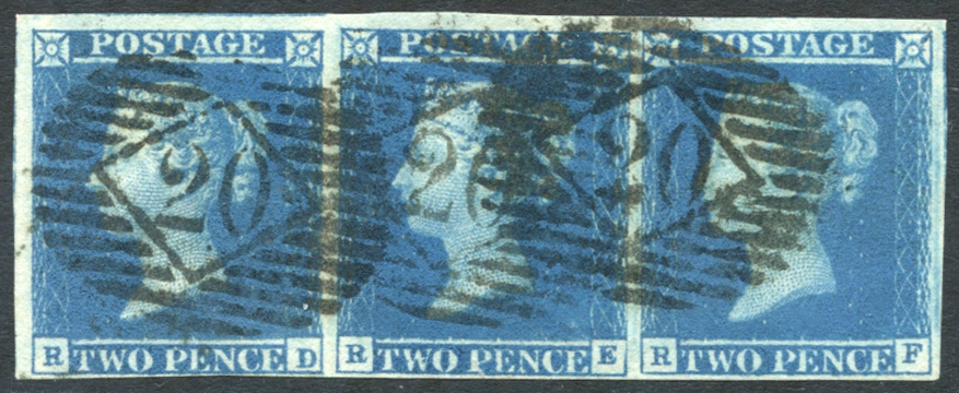 1841 2d blue Pl.3 RD/RF - strip of three