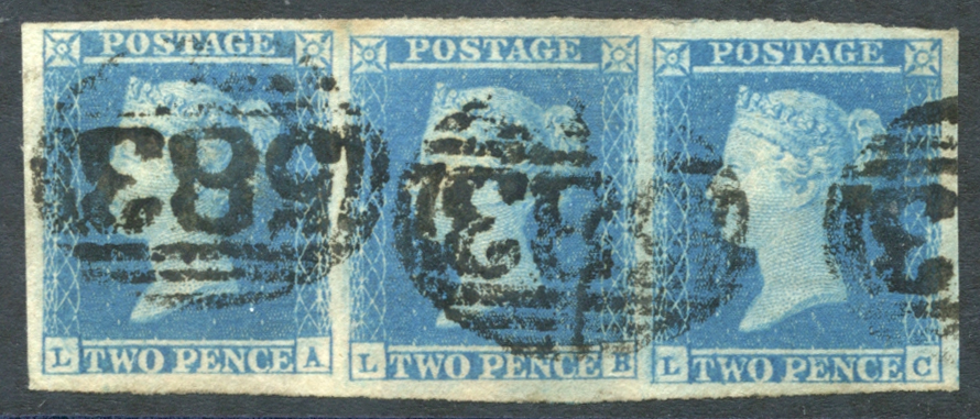 1841 2d blue Pl.4 LA/LC - strip of three