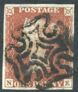 1841 1d red from black Plate 10 NE, bold black Maltese Cross