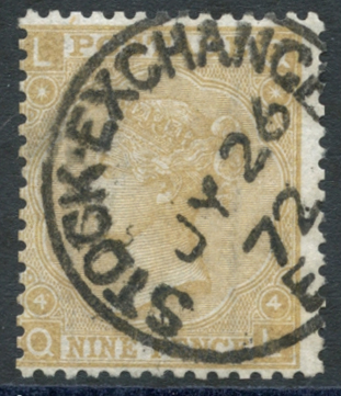 1867 Wmk Spray of rose, 9d straw, SG.110, Cat. £325