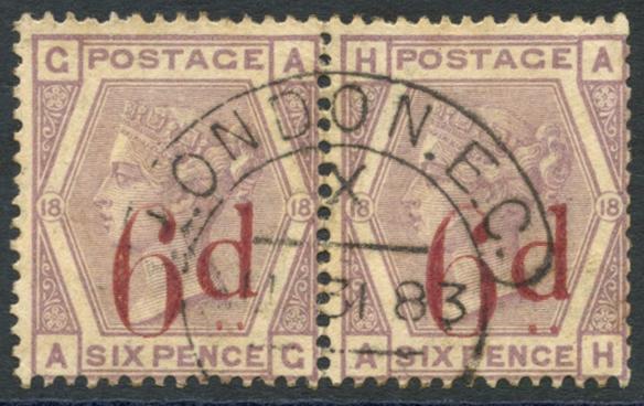 1883 6d on 6d lilac AG/AH, SG.162