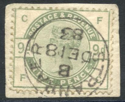 1883 9d dull green, SG.195, Cat. £480