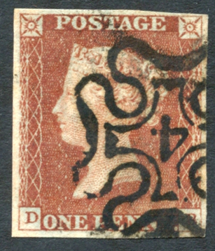 1841 1d red DB, cancelled by a No.4 in Maltese Cross