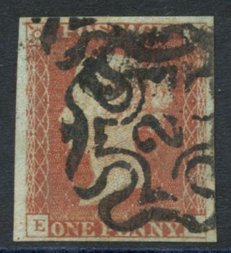 1841 1d red EA,  No. 2 in Maltese Cross cancel