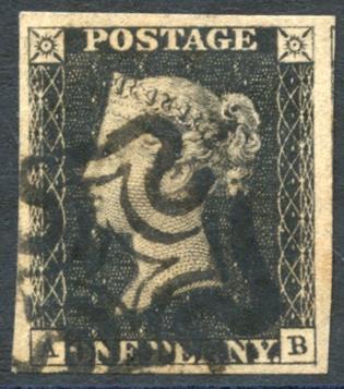 1840 1d black- Plate 5 AB