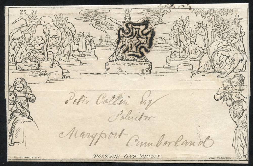 1840 One penny letter sheet cancelled by a black Maltese Cross, SG.ME3