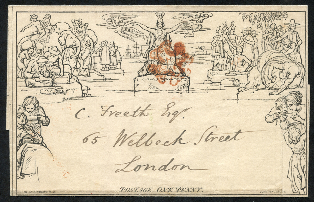 1840 One penny letter sheet cancelled by a red Maltese Cross