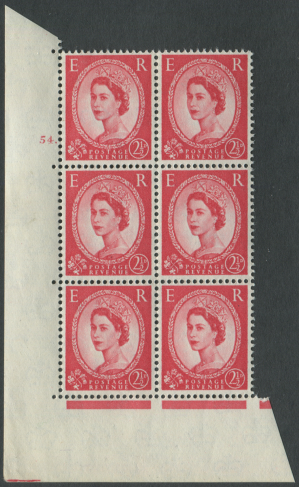 1959 Wilding 2½d Crowns II, white paper, Perf Type A, Cyl. 54 dot - block of six