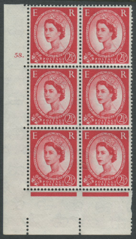 1959 Wilding 2½d Crowns II, white paper, Perf Type A, Cyl. 58 dot - block of six