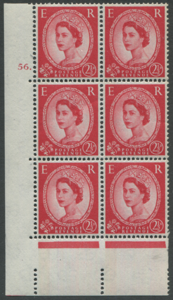 1961 Wilding 2½d Crowns II, blue phosphor (1 band), white paper, Perf Type A, Cyl. 56 dot - block of six