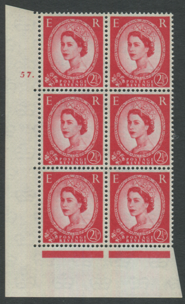 1961 Wilding 2½d Crowns II, blue phosphor (2 bands), white paper,, Perf Type A, Cyl. 57 dot - block of six