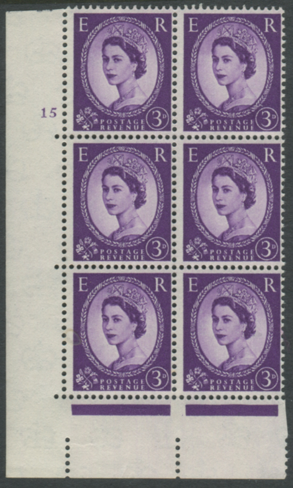 1958 Wilding 3d Crowns, cream paper, Perf Type A, Cyl. 15 - block of six