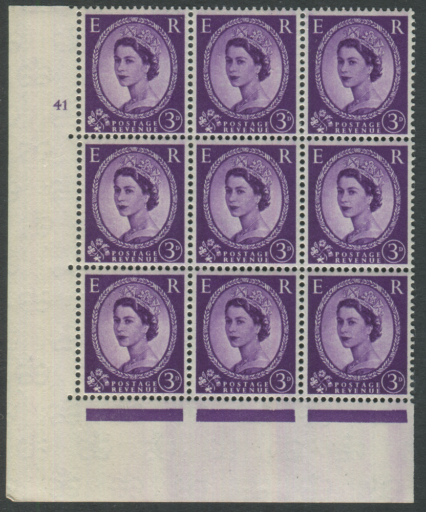 1958 Wilding 3d Crowns, cream paper, Perf Type A, Cyl. 41 - block of six