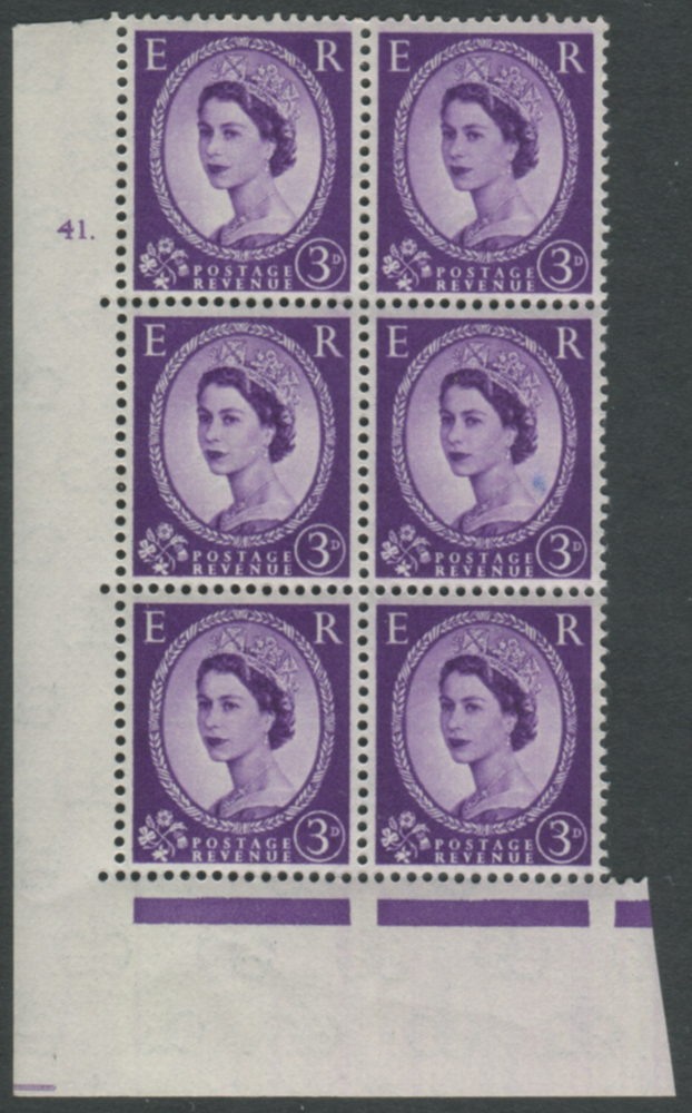 1958 Wilding 3d Crowns, cream paper, Perf Type A, Cyl. 41 dot - block of six