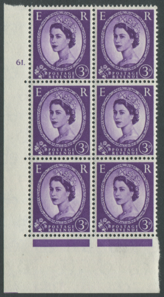 1958 Wilding 3d Crowns, white paper, Perf Type A, Cyl. 61 dot - block of six