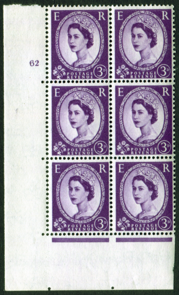 1958 Wilding 3d Crowns, white paper, Perf Type A, Cyl. 62 - block of six