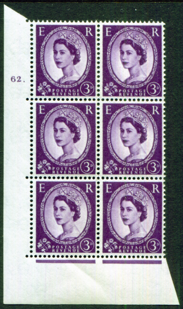 1958 Wilding 3d Crowns, Perf Type A, Cyl. 62 dot - block of six