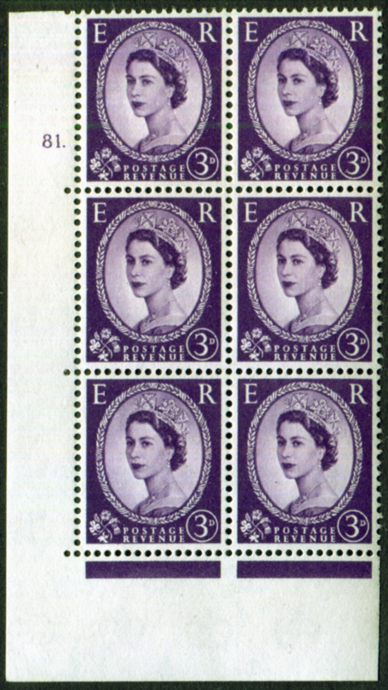 1958 Wilding 3d Crowns, Perf Type A, Cyl. 81 dot - block of six