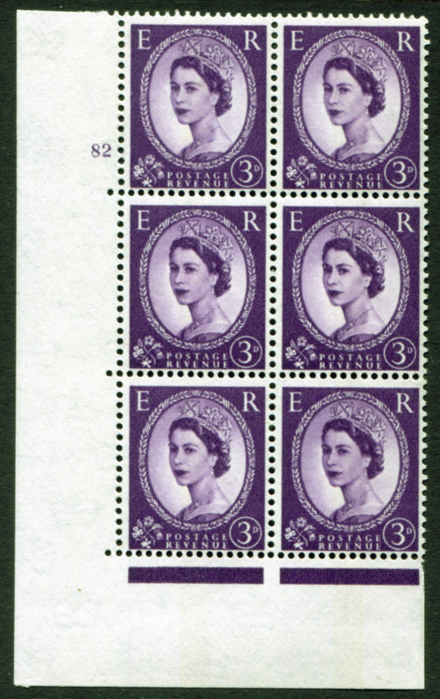 1958 Wilding 3d Crowns, Perf Type A, Cyl. 82 - block of six
