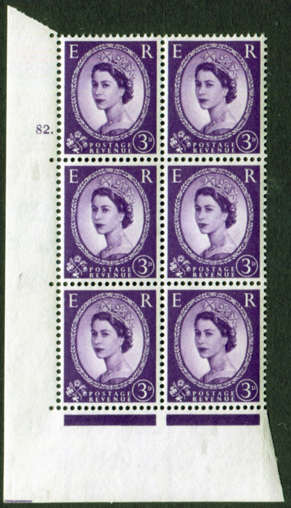 1958 Wilding 3d Crowns, white paper, Perf Type A, Cyl. 82 dot - block of six