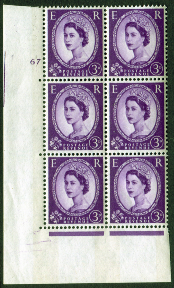 1959 Wilding 3d Crowns, blue phosphor, Perf Type A, Cyl. 67 - block of six