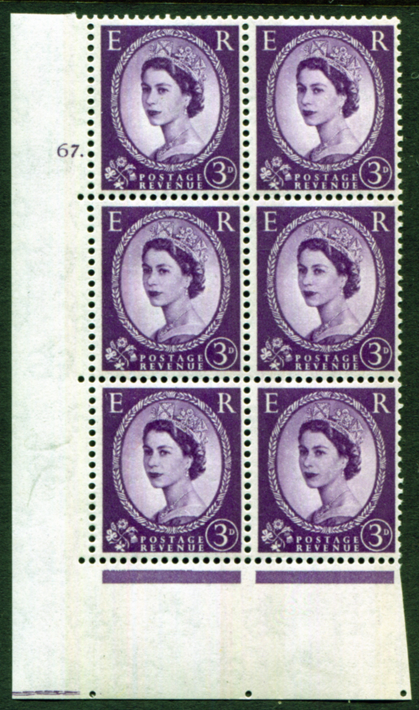 1959 Wilding 3d Crowns, blue phosphor, Perf Type A, Cyl. 67 dot - block of six