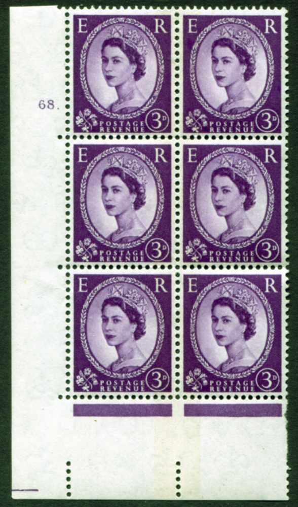 1959 Wilding 3d Crowns, blue phosphor (side band), white paper, Perf Type A, Cyl. 68 dot - block of six