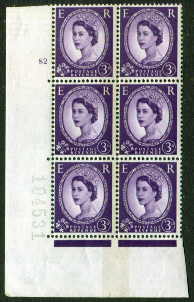 1959 Wilding 3d Crowns, violet phosphor, side band, Perf Type A, Cyl. 82 - block of six