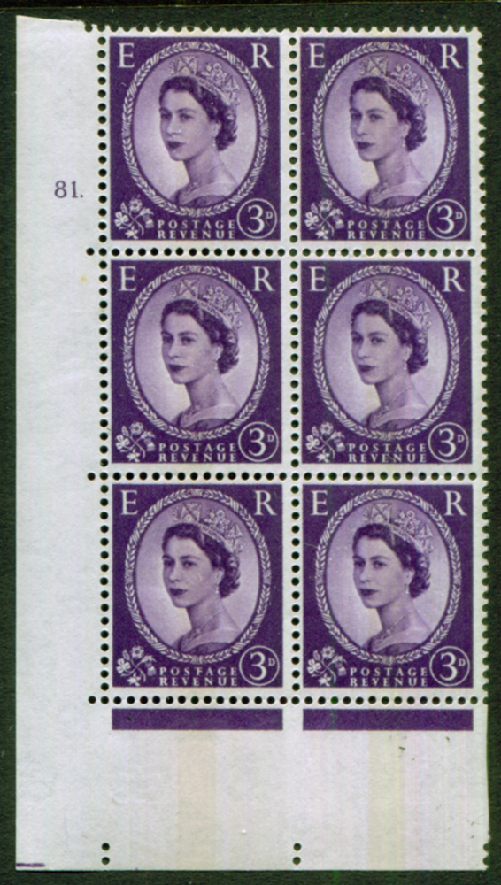 1966 Wilding 3d Crowns, violet phosphor, centre band, Perf Type A, Cyl. 81 dot - block of six