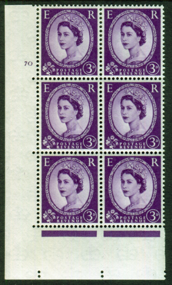 1958 Wilding 3d Crowns, white paper, Perf Type A, Cyl. 70 - block of six