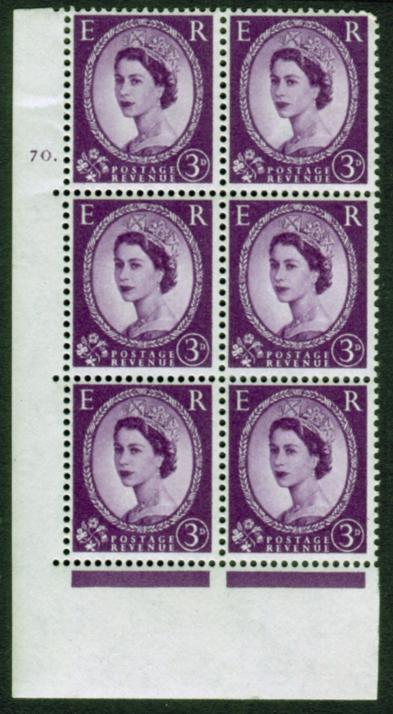 1958 Wilding 3d Crowns, Perf Type A, Cyl. 70 dot - block of six