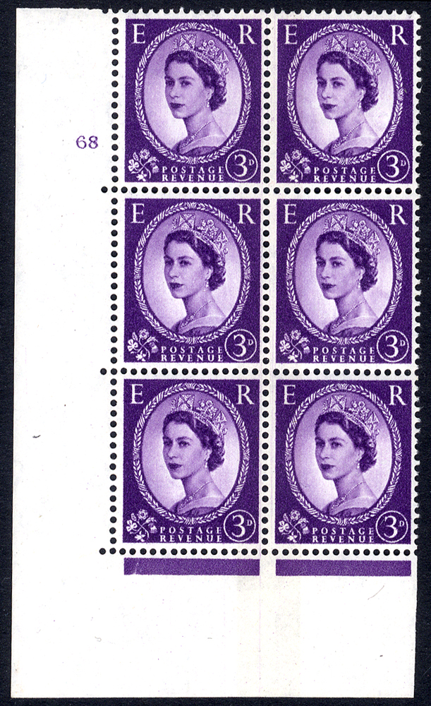 1959 Wilding 3d Crowns, blue phosphor, side band, Perf Type A, Cyl. 68 - block of six
