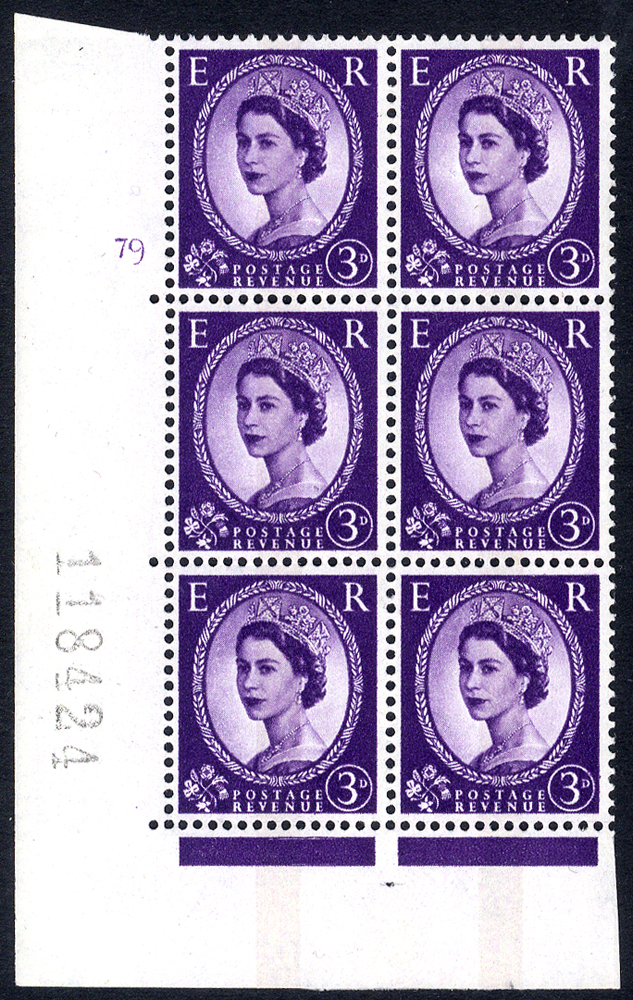 1966 Wilding 3d Crowns, violet phosphor,centre band, Perf Type A, Cyl. 79 - block of six