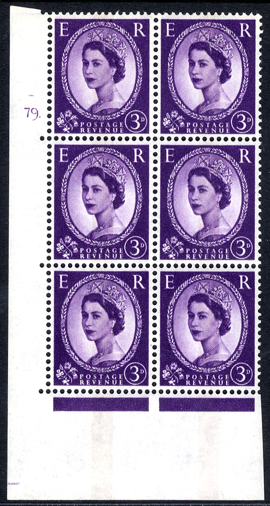 1966 Wilding 3d Crowns, violet phosphor (centre band), Perf Type A, Cyl. 79 dot - block of six