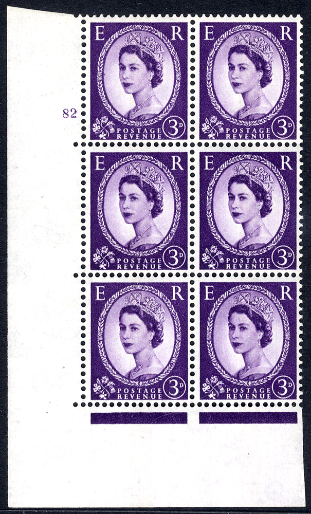 1966 Wilding 3d Crowns, violet phosphor (centre band), Perf Type A, Cyl. 82 - block of six