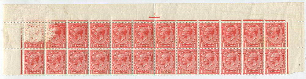 1912 2d bright scarlet - two rows of 24 stamps, Unmounted Mint with spectacular dry print at left