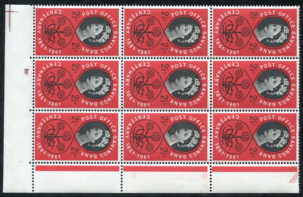 1961 P.O.S.B 2½d Cylinder block of nine with variety