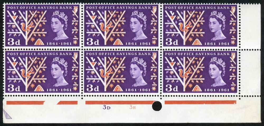 1961 P.O.S.B 3d Timpson printing Cylinder block of six, showing perf through margin