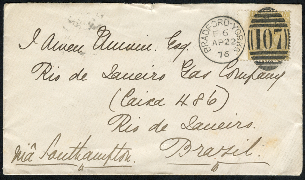 1876 envelope from Bradford to Rio, Brazil, franked 9d Emblems