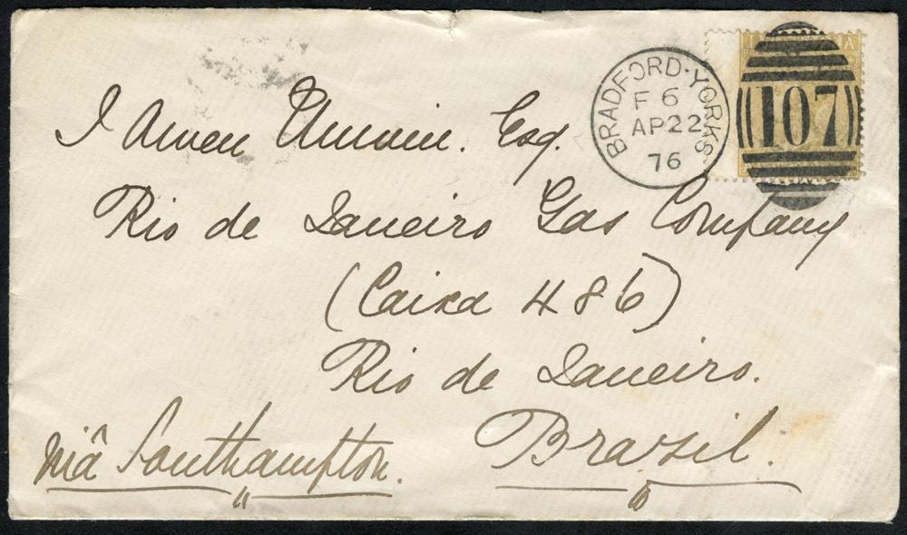 1876 envelope from Bradford to Rio, Brazil, franked 9d Emblems