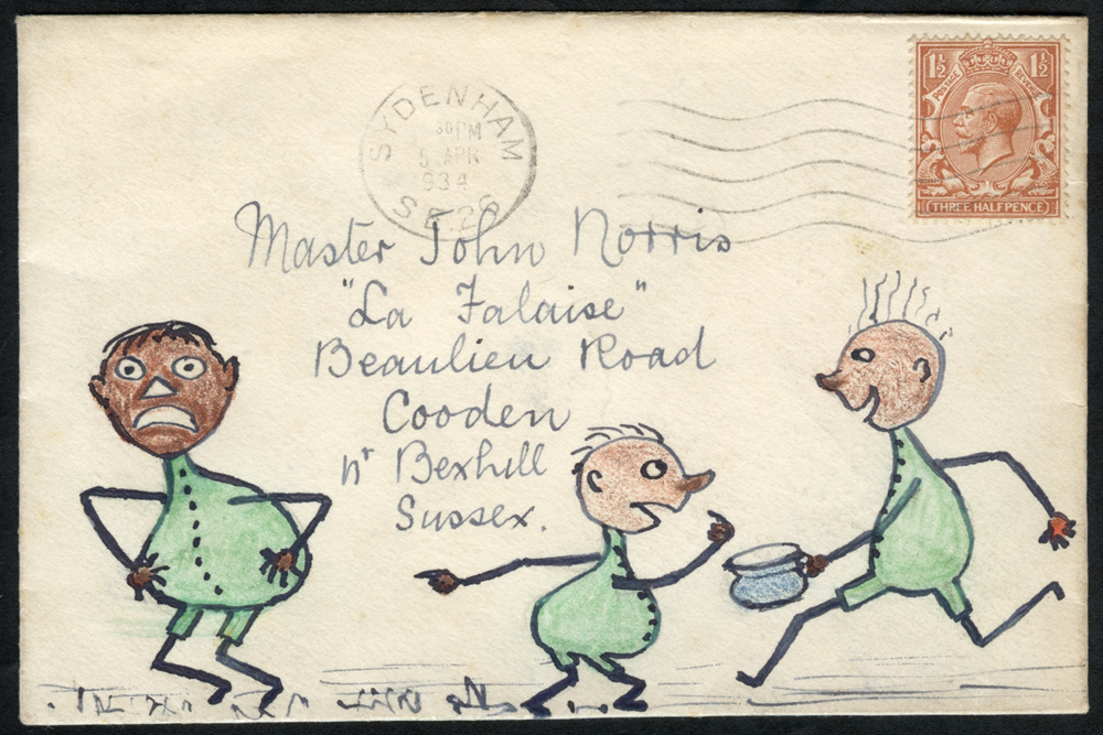 1934 hand illustrated envelope from Sydenham, franked KGV 1½d